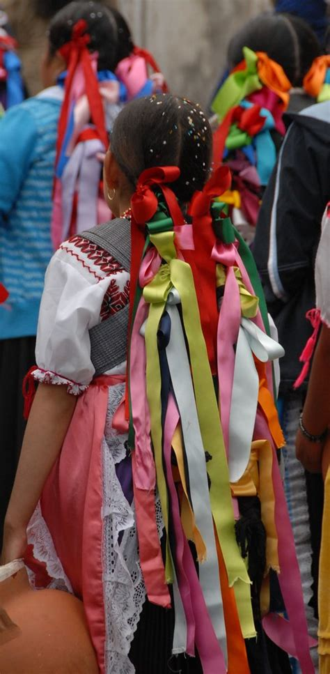 braids  ribbons mexico  purepecha women