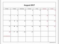 August 2017 Calendar Printable with Bank Holidays UK