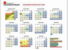 Calendario escolar de la Comunidad de Madrid curso 2017