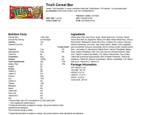 Trix Cereal Nutrition Facts Label