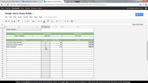 creating a quote builder in spreadsheets youtube