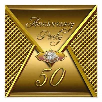 50th Anniversary Elegant Zazzle Golden Invitations Gold