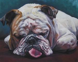 ENGLISH BULLDOG dog art portrait canvas PRINT of LAShepard