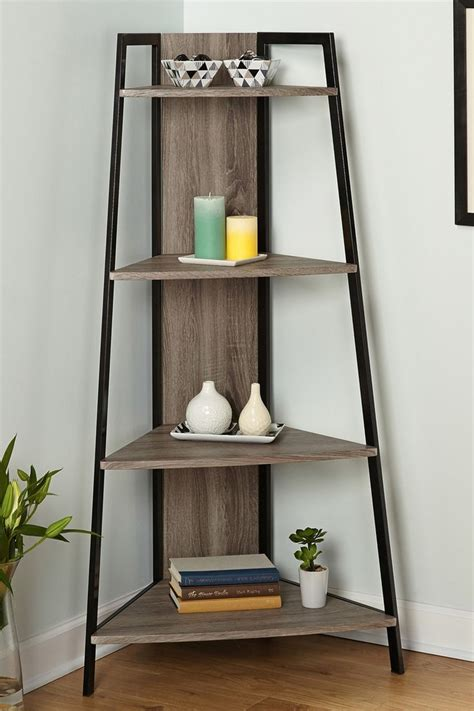 seneca blackgray corner shelf shelves corner shelves