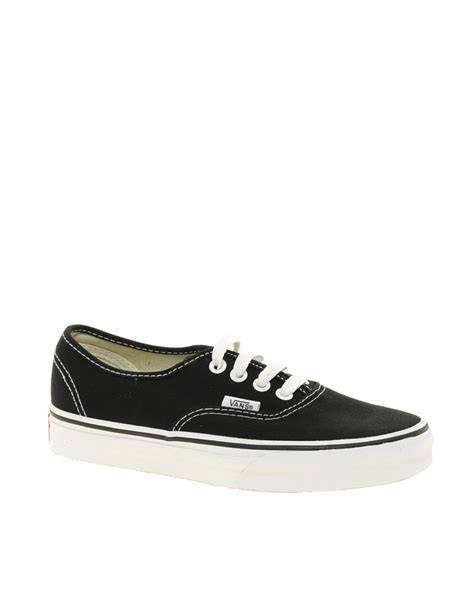 Vans Classic White vans authentic classic black and white lace up trainers in