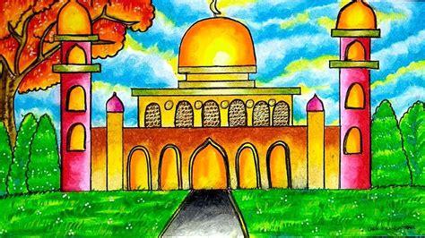 cara mewarnai gambar masjid dengan crayon