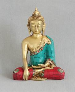 Medicine Buddha Statue in Brass with Mosaic Detailing