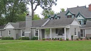 Gray Brick Ranch Houses with Shutters