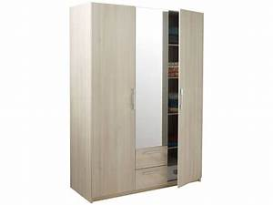 Armoire 3 portes 2 tiroirs SATURNE coloris acacia Vente de Armoire Conforama