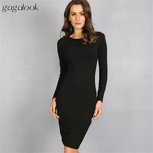 gagalook bodycon winter dress women office work long With robe midi moulante