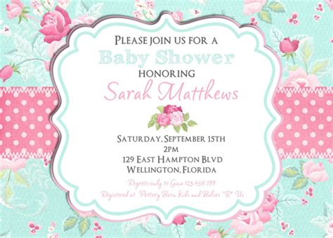 polka tosca shabby chic baby shower invitation baby shower