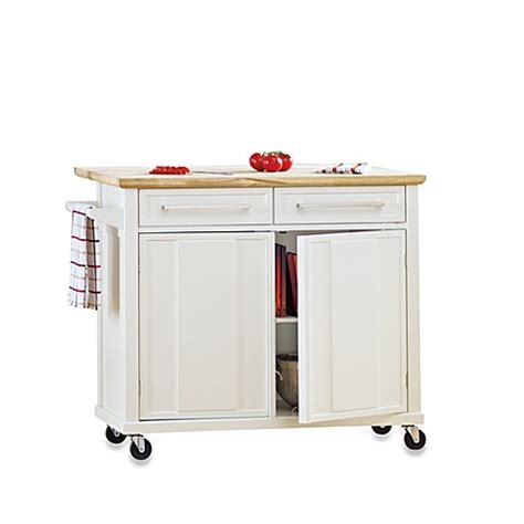 wheeled kitchen islands real simple 174 rolling kitchen island in white bed bath 1004