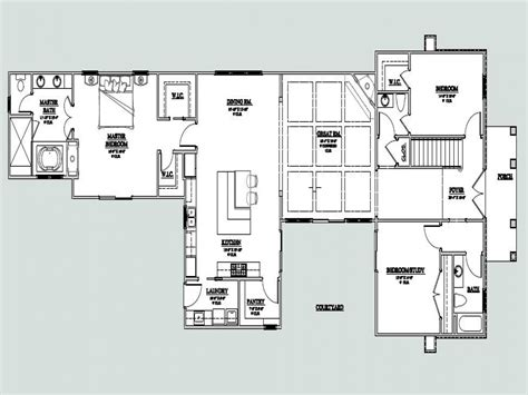 shaped  story house  shaped house plan  courtyard courtyard home floor plans