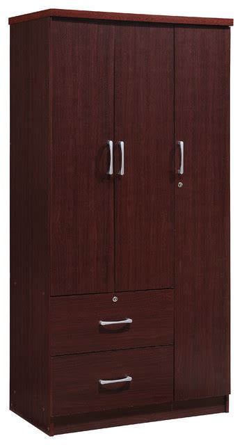 Clothes Armoire With Drawers by 3 Door 36 Quot Wide Armoire With 2 Drawers Clothing Rod And 3