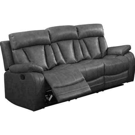gray reclining loveseat gray bonded leather motion sofa 2 reclining seats 72004