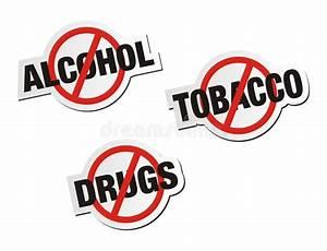 Anti Alcohol, Anti Tobacco, Anti Drugs Sticker Signs Stock ...