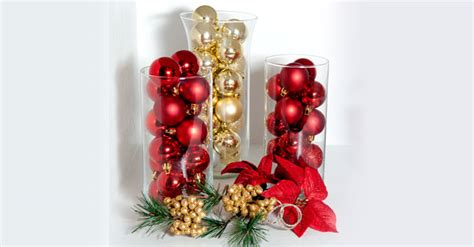 Ornament-filled Glass Vases