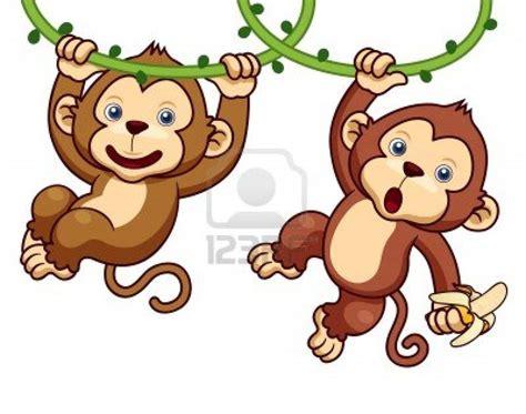 illustration  cartoon monkeys stock photo