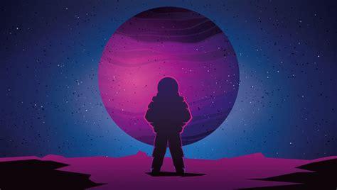 astronaut vaporwave minimal space planet art