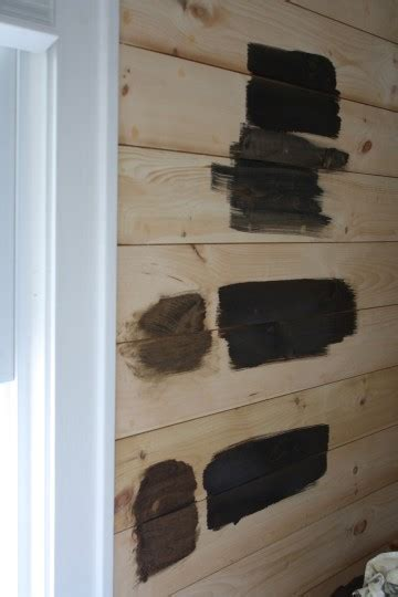 Stained Shiplap Wall by Minwax Staining Trials On Shiplap Paneling Merrypad