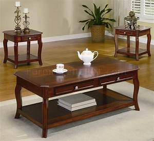 warm brown cherry finish traditional 3pc coffee table set With cherry wood coffee table sets