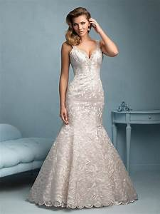 Allure 9203 laser cut lace pearlescent rose gold for Rose gold lace wedding dress