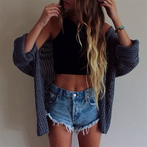 Brandy melville denim shorts shorts cardigan top fashion lovely style shopping knitted ...
