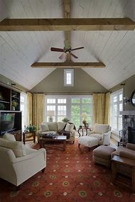 Farmhouse Living Room with Vaulted Ceiling