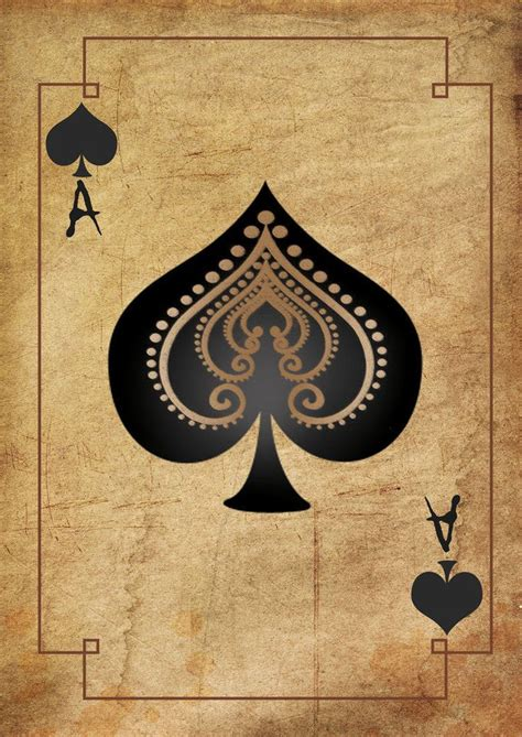 print  vintage playing card ace  spades picture