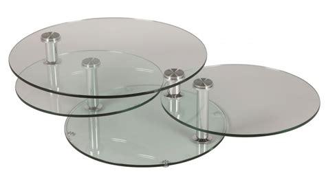 canape design convertible grande table basse en verre ronde 3 plateaux table basse