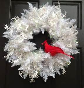 winter white christmas wreath holiday wreath with cardinal christmas door wreath doors