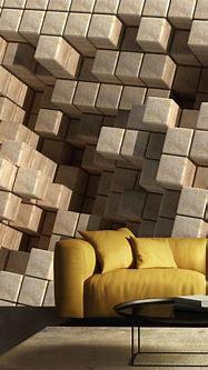 Wallpaper Mural 3D Cubes Sepia Tones | Muralunique