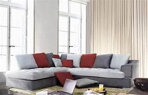 Coussin Pour Canapé Gris : canap d 39 angle gauche majorca gris fonc gris perl rouge ~ Teatrodelosmanantiales.com Idées de Décoration