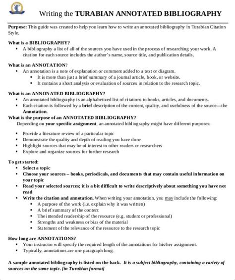 turabian template for a paper 7 annotated bibliography templates free word pdf
