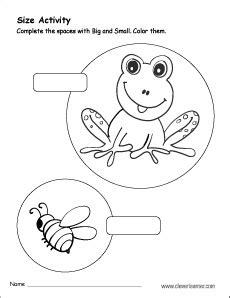 sizes big  small activity worksheet  preschool children