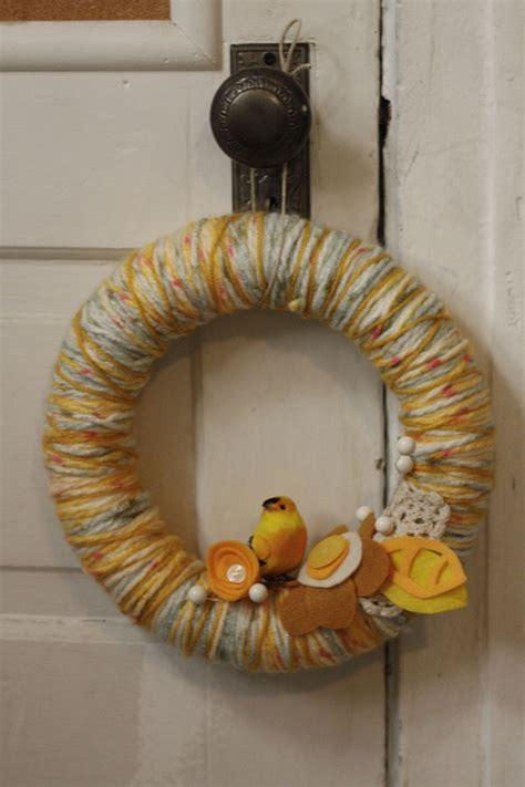 finch featured yarn wreath  yarn wrapped wreath