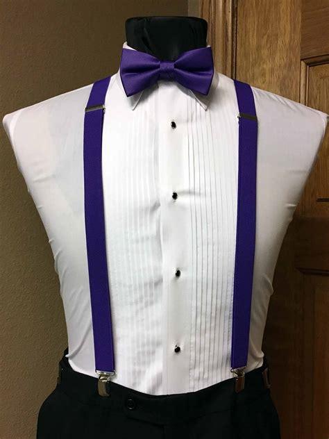 purple mens suspender      purple pre tied