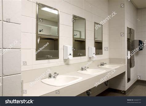 Perspective Shot Countertop Three Sinks Mirors Stock Photo