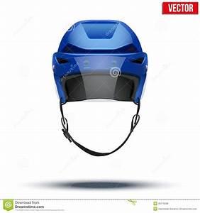 Classic Blue Ice Hockey Helmet With Glass Visor Stock ...