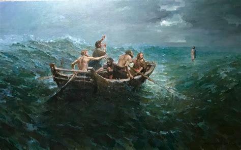 Jesus Christ Walking On Water Painting