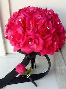 Amazon.com - Hot Pink Rose and Black Ribbon Bridal Wedding ...