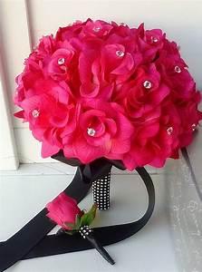 Amazon.com - Hot Pink Rose and Black Ribbon Bridal Wedding ...