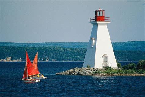 Sailboats Nova Scotia by Nova Scotia Lighthouse And Sailboats Wallpaper Wall Mural