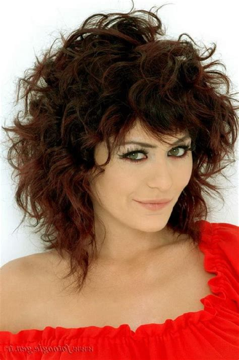 medium length curly hairstyles  bangs