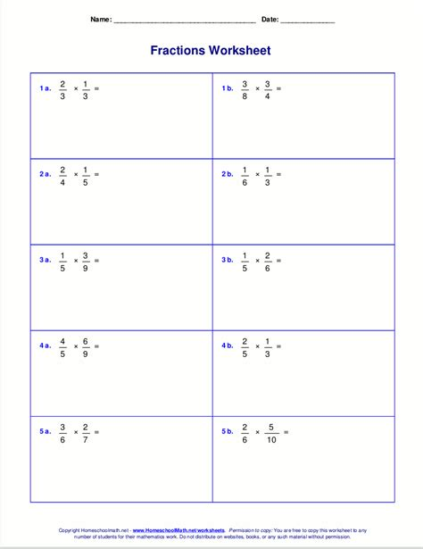 Worksheets For Fraction Multiplication