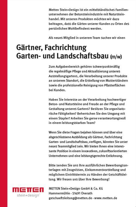 Bewerbung Ausbildung Garten Und Landschaftsbau Anschreiben by Stellenanzeige G 228 Rtner Fachrichtung Garten Und