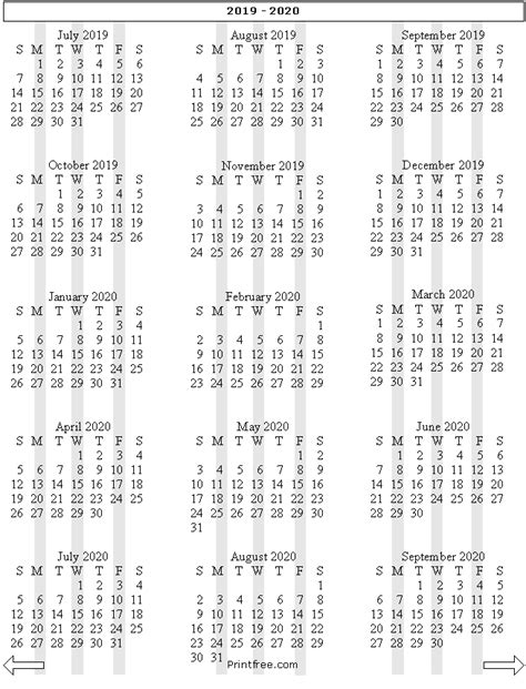 month school year calendar