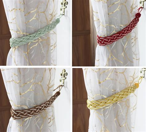 Rope Drapery Tiebacks by 2 Rope Curtain Tiebacks Slender Slinky Rope Hold Backs