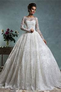 Ball gown bateau neck long sleeve vintage lace wedding for Long sleeve ball gown wedding dress