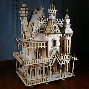 Victorian Doll House Birch plywood Laser Cut by